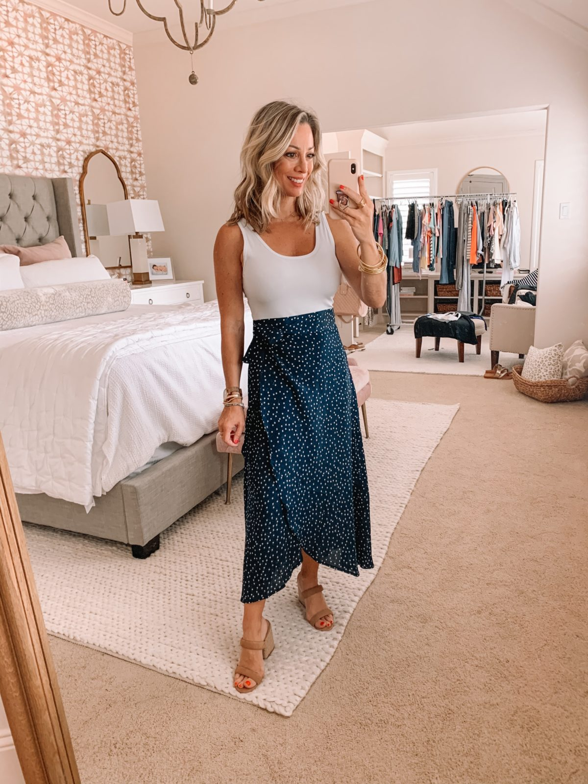 Amazon Fashion Finds, Bodysuit, Polka Dot Wrap Skirt, Sandals