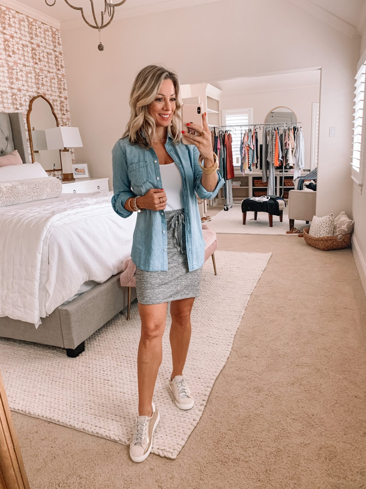 Amazon Fashion Finds, Bodysuit, Chambray Button Down, Mini Skirt Jersey Knit, Sneakers