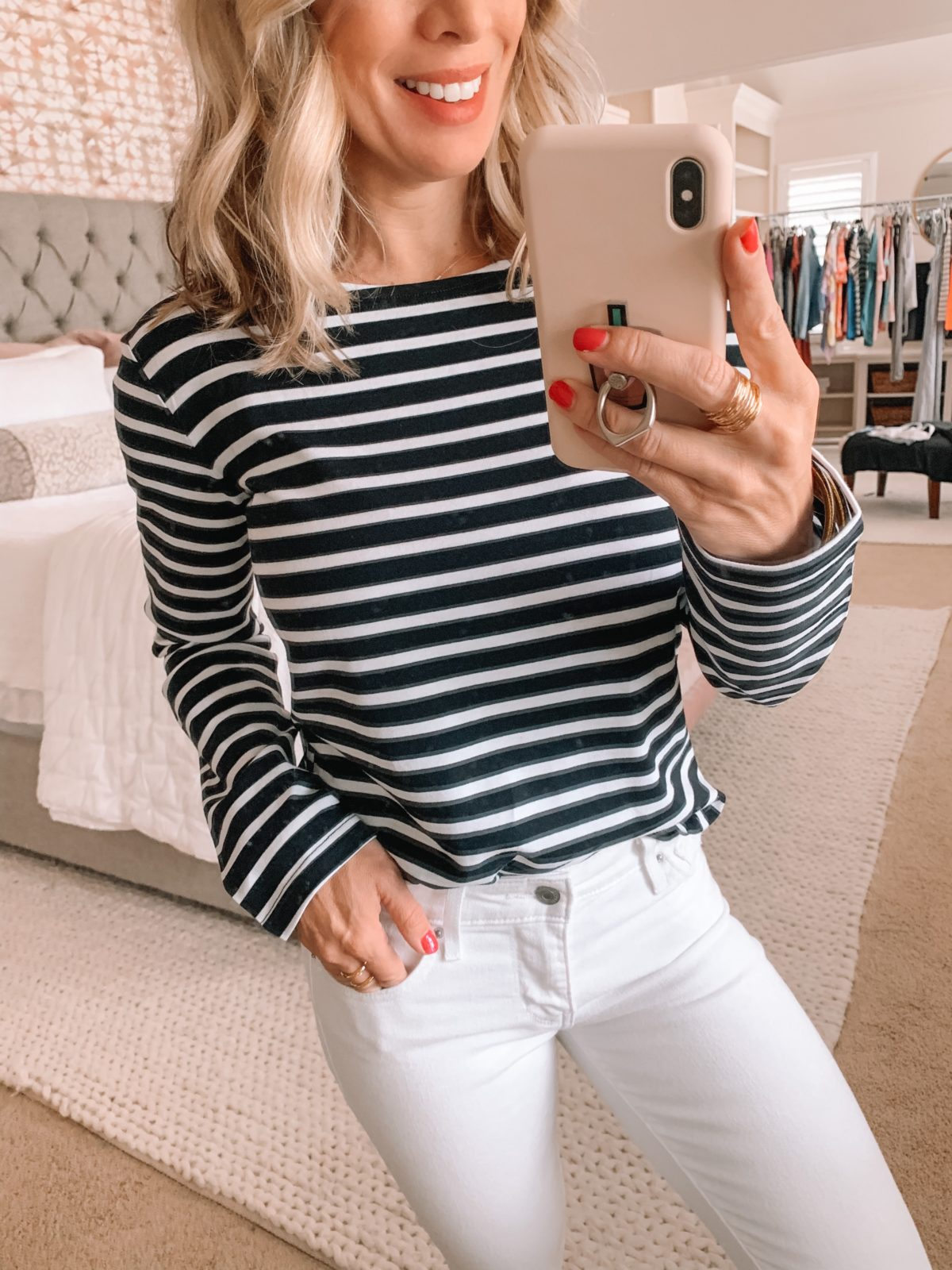 Amazon Fashion Finds, Striped Boat Neck Top, White Jeans