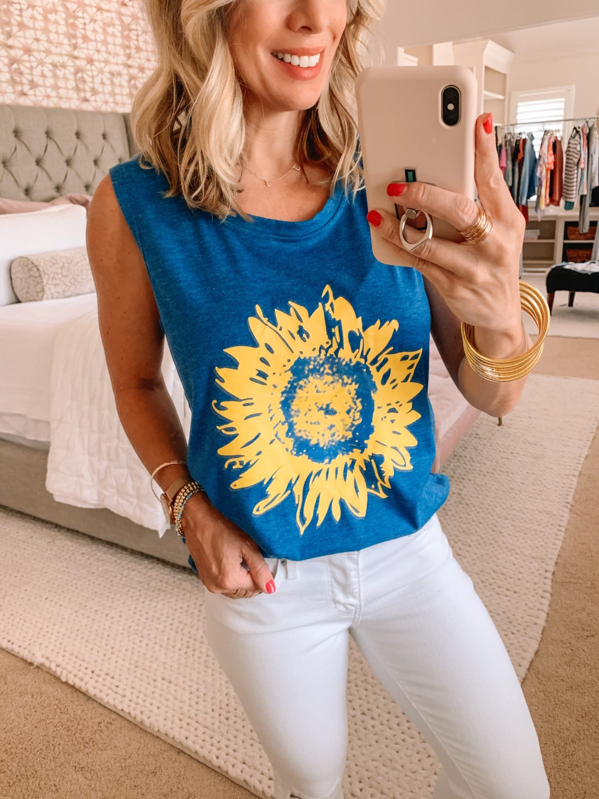 Amazon Fashion Finds, Sunflower Tank, White Denim Jeans