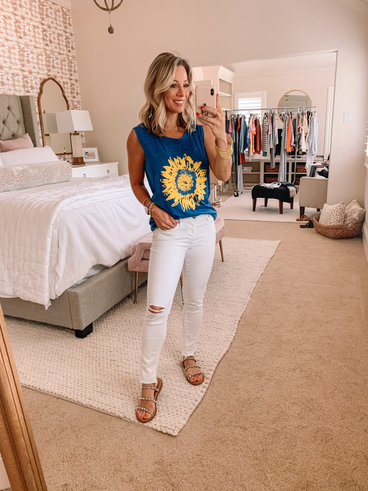 Amazon Fashion Finds, Sunflower Tank, White Denim Jeans, Studded Sandals