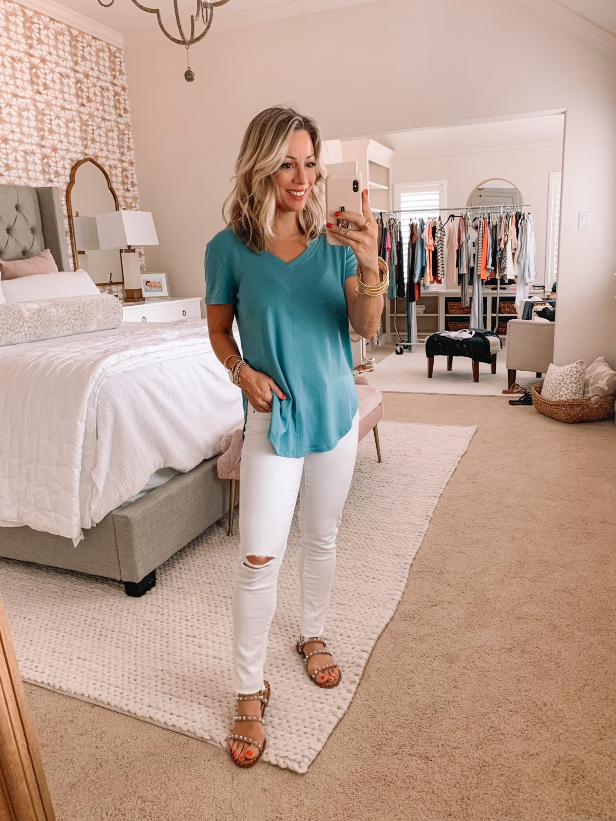 Amazon Fashion Finds, V-Neck Tunic Top, White Jeans, Studded Sandals