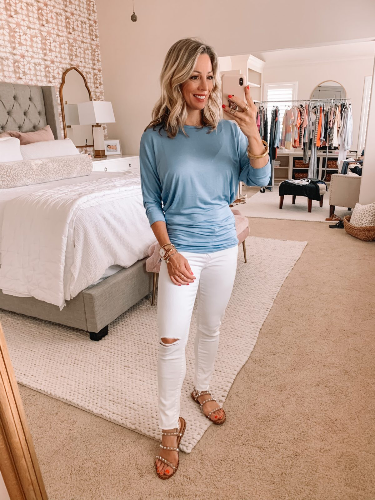 Amazon Fashion Finds, Blue Ruched Waist Top, Jeans, Studded Sandals