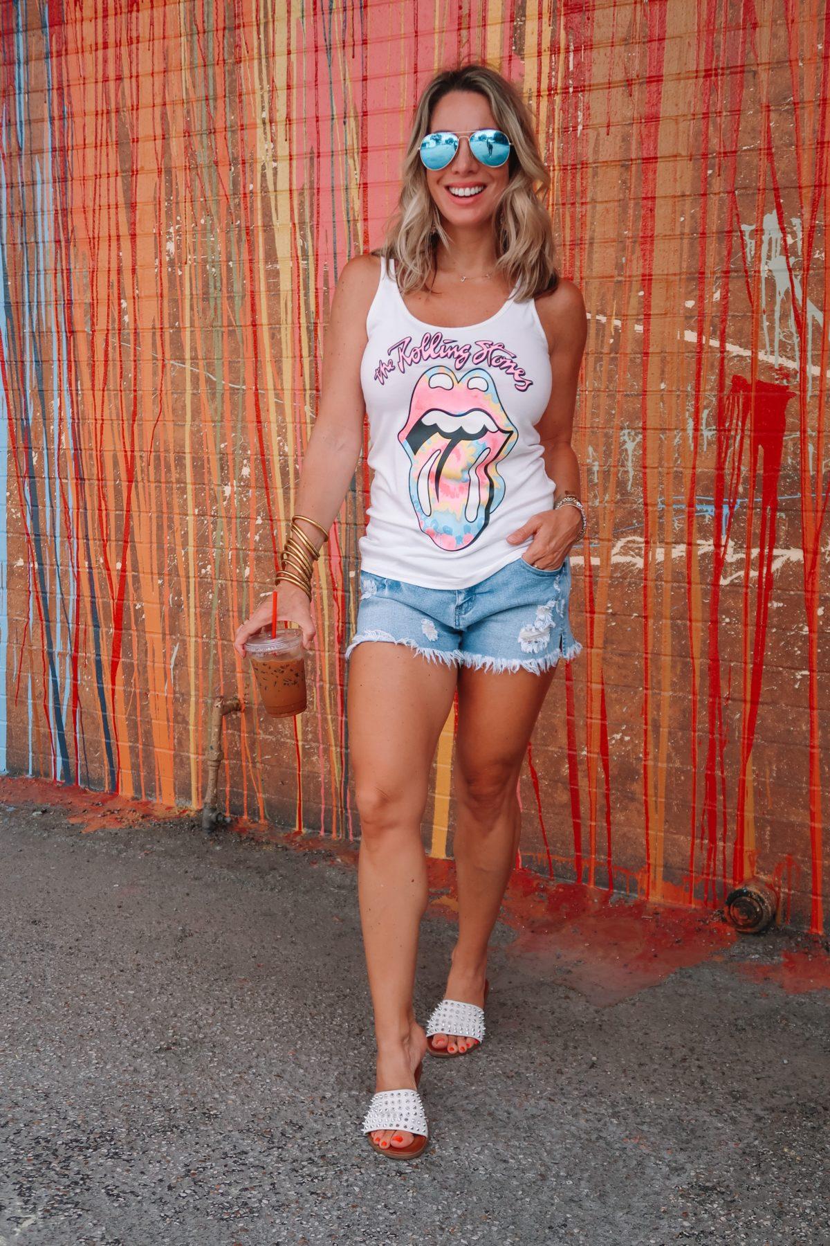 Rolling Stone Tank, Denim Shorts, Studded Slides, Sunglasses
