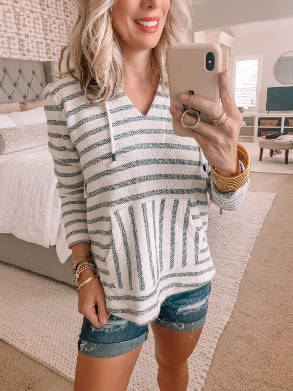 Dressing Room Finds Old Navy and Target, Striped Pullover, Denim Shorts