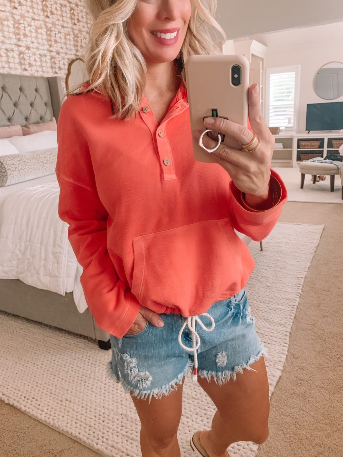 Dressing Room Finds Old Navy & Target, Coral Sweatshirt, Distressed Denim Shorts