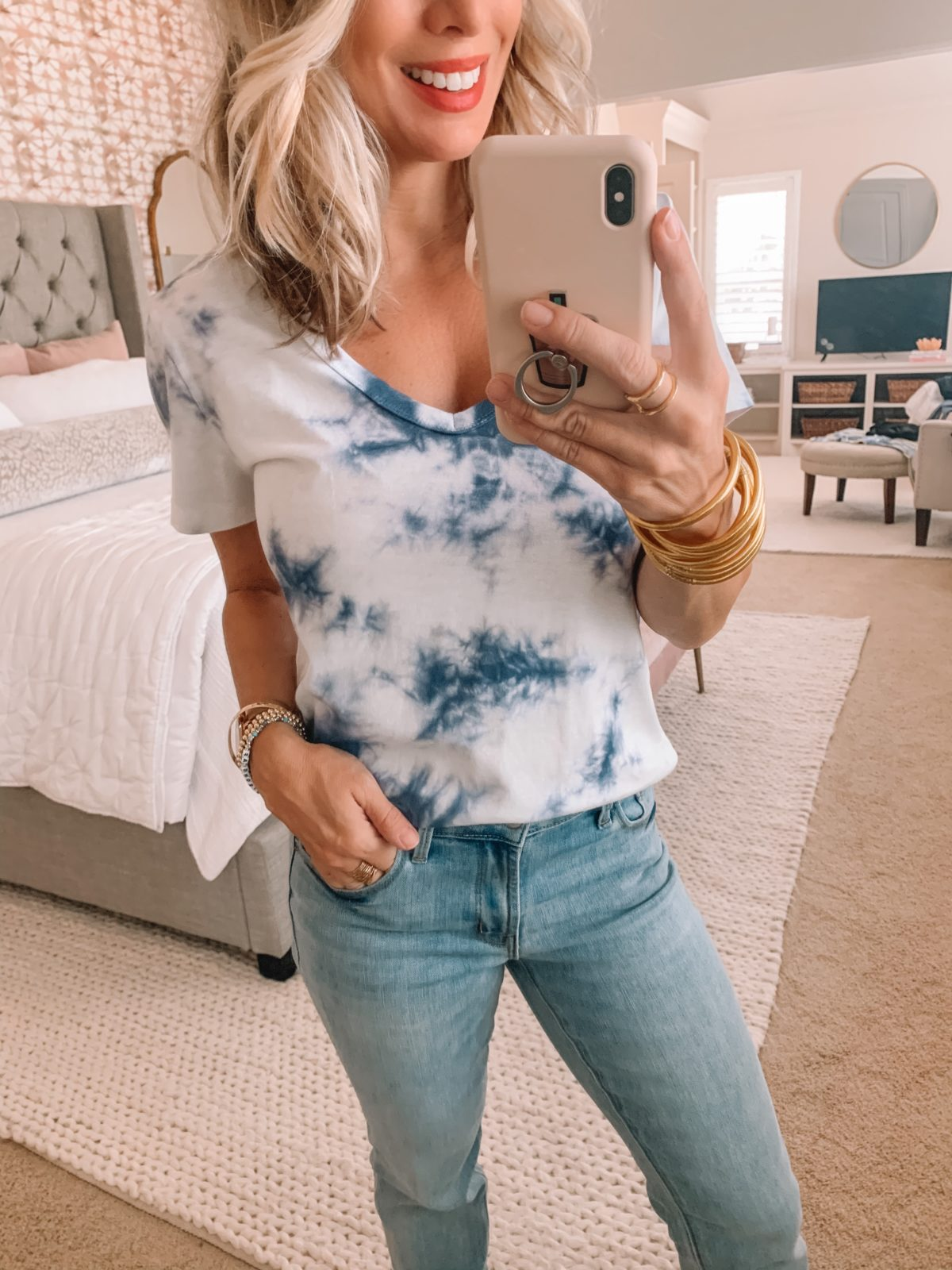 Dressing Room Finds Old Navy and Target, Blue Tie Dye Tee, Jeans