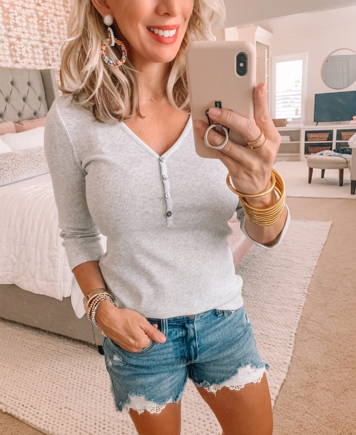 Dressing Room Finds Old Navy and Target, Henley Long Sleeve Tee, Denim Lace Detail shorts, Flip Flops