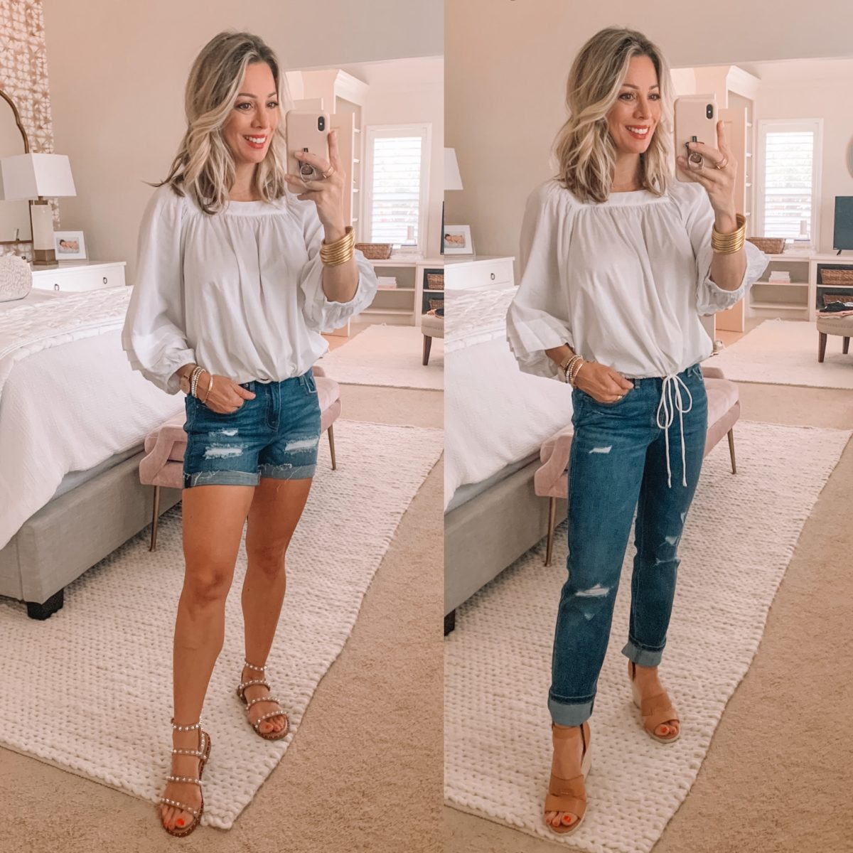Dressing Room Finds Old Navy and Target, Peasant Top, Distressed Shorts, Distressed Jeans, Sandals
