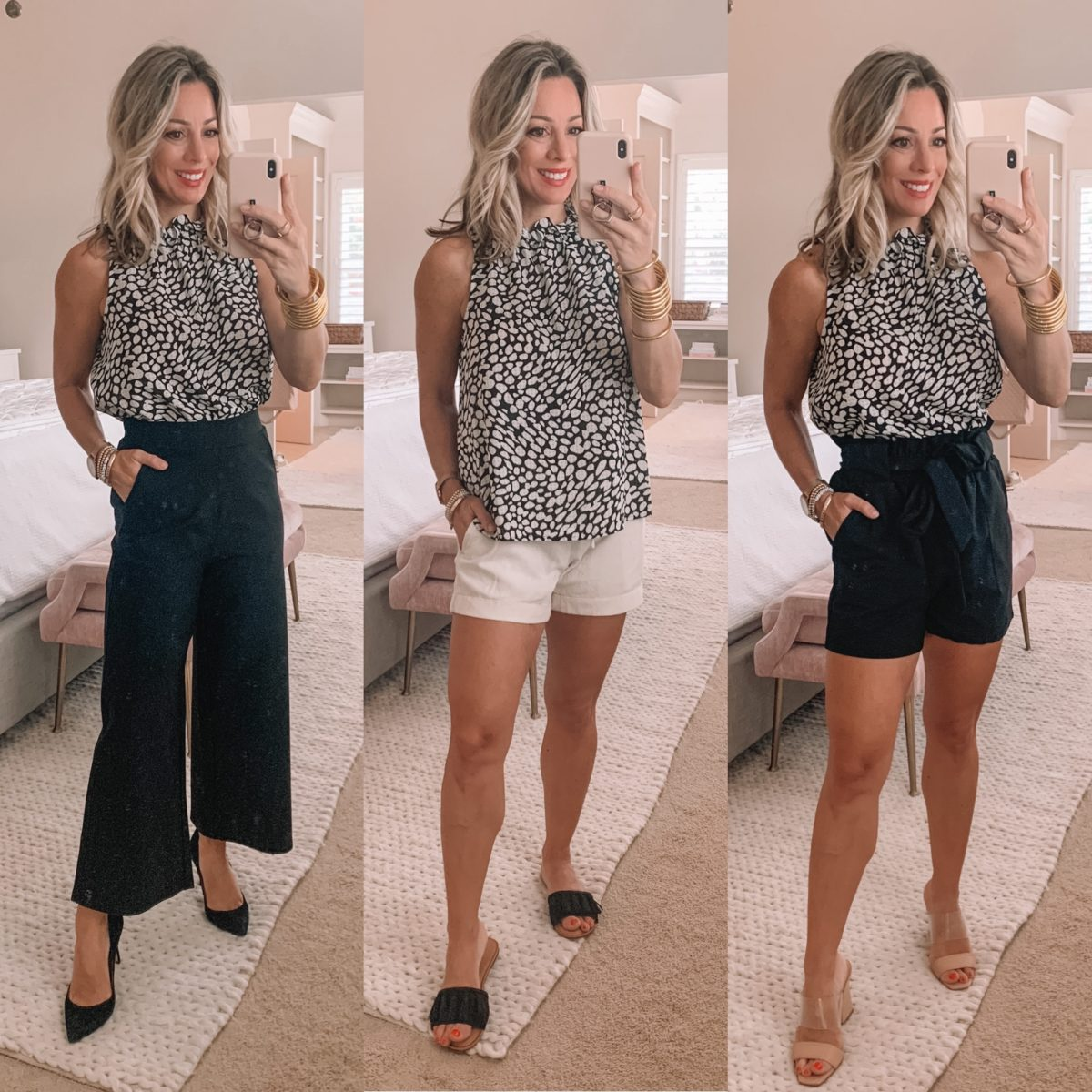 Dressing Room Finds Old Navy and Target, Dot Print Sleeveless, Paperbag waist pants, Shorts, Paperbag waist shorts, Heels, Slides, Sandals