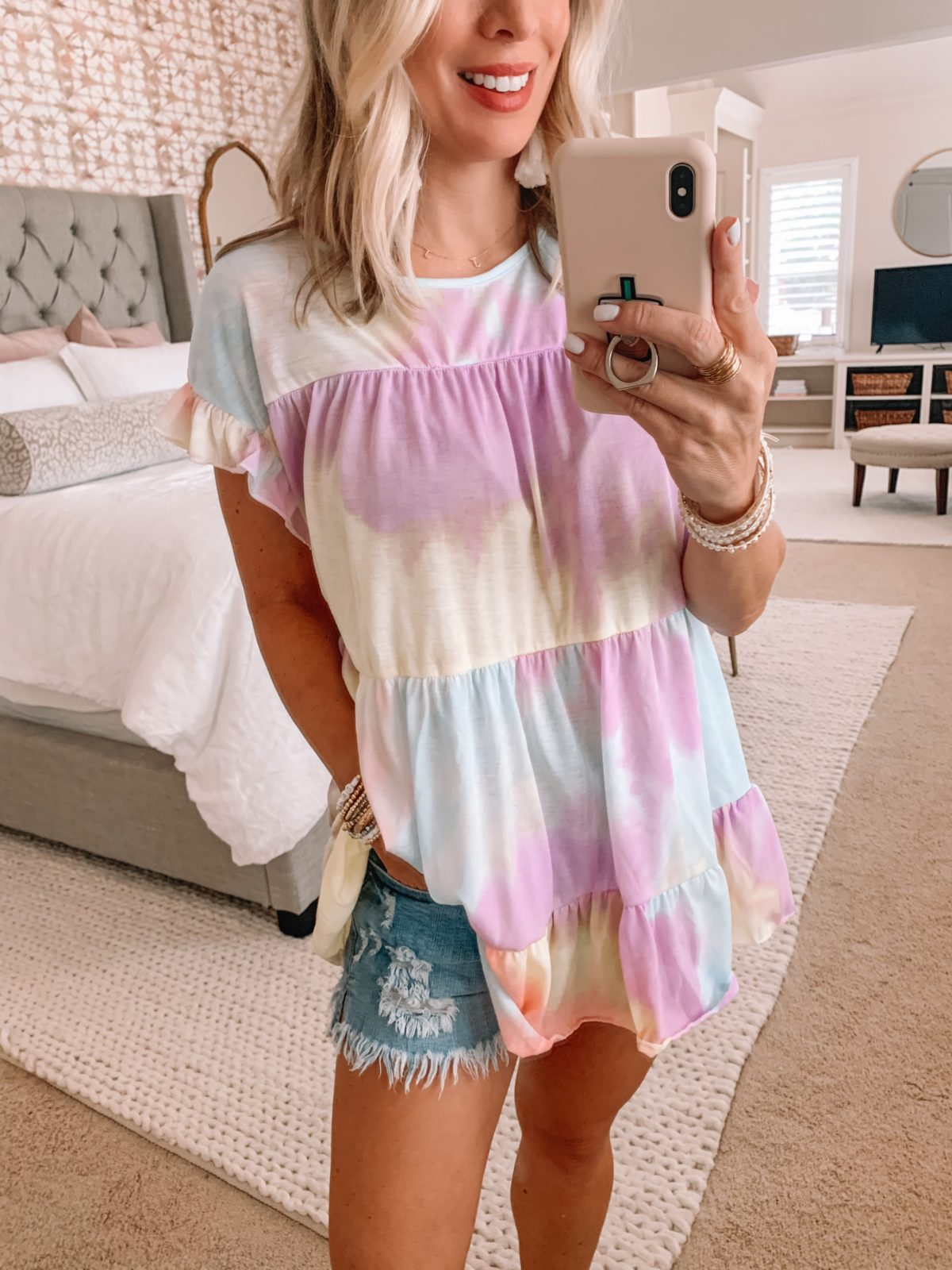 Amazon Fashion Finds, Tie Dye Tiered Top, Denim Shorts