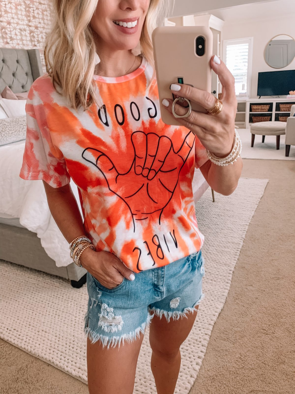 Amazon Fashion Finds, Good Vibes Tee, Denim Shorts