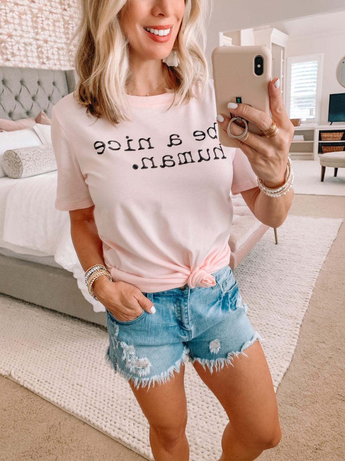 Amazon Fashion Finds, Be A Nice Human Tee, Denim Shorts