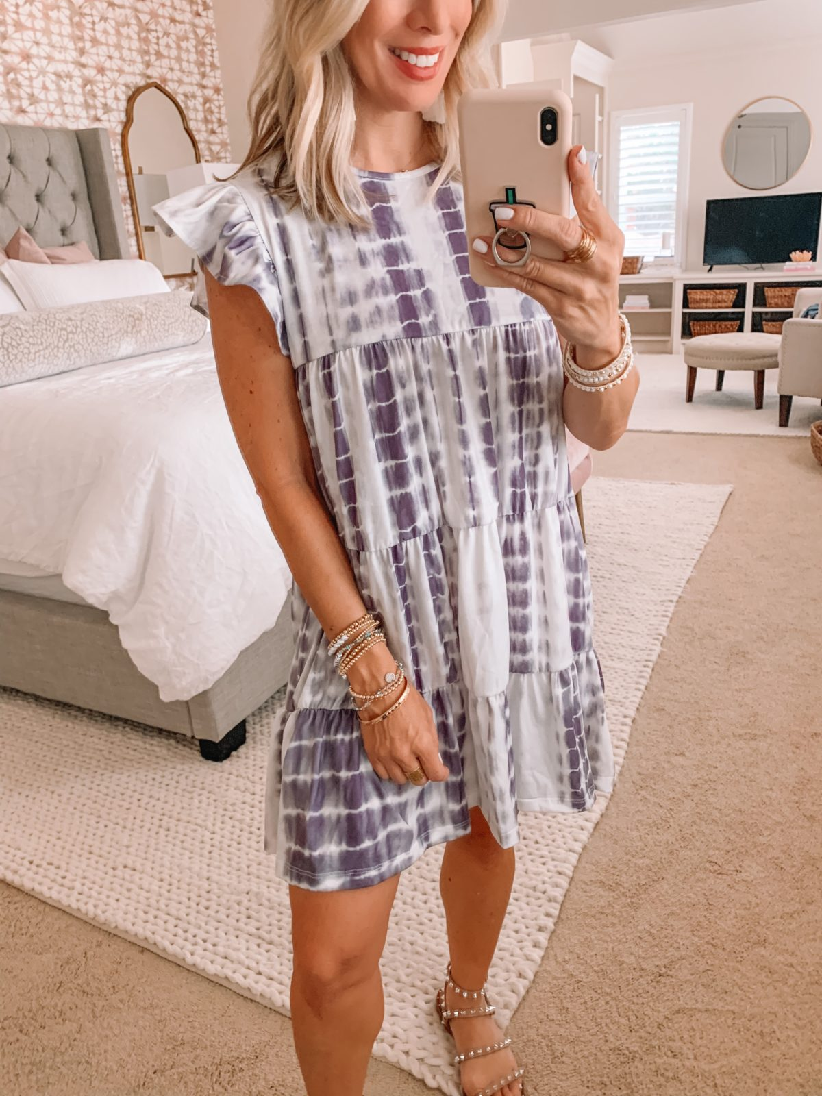 Amazon Fashion Finds, Tie Dye Tiered Dress, Studded Sandals