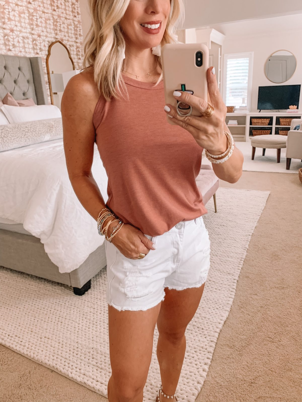 Amazon Fashion Finds, Pink Sleeveless Crew Neck Tank, Shorts, Studded Sandals