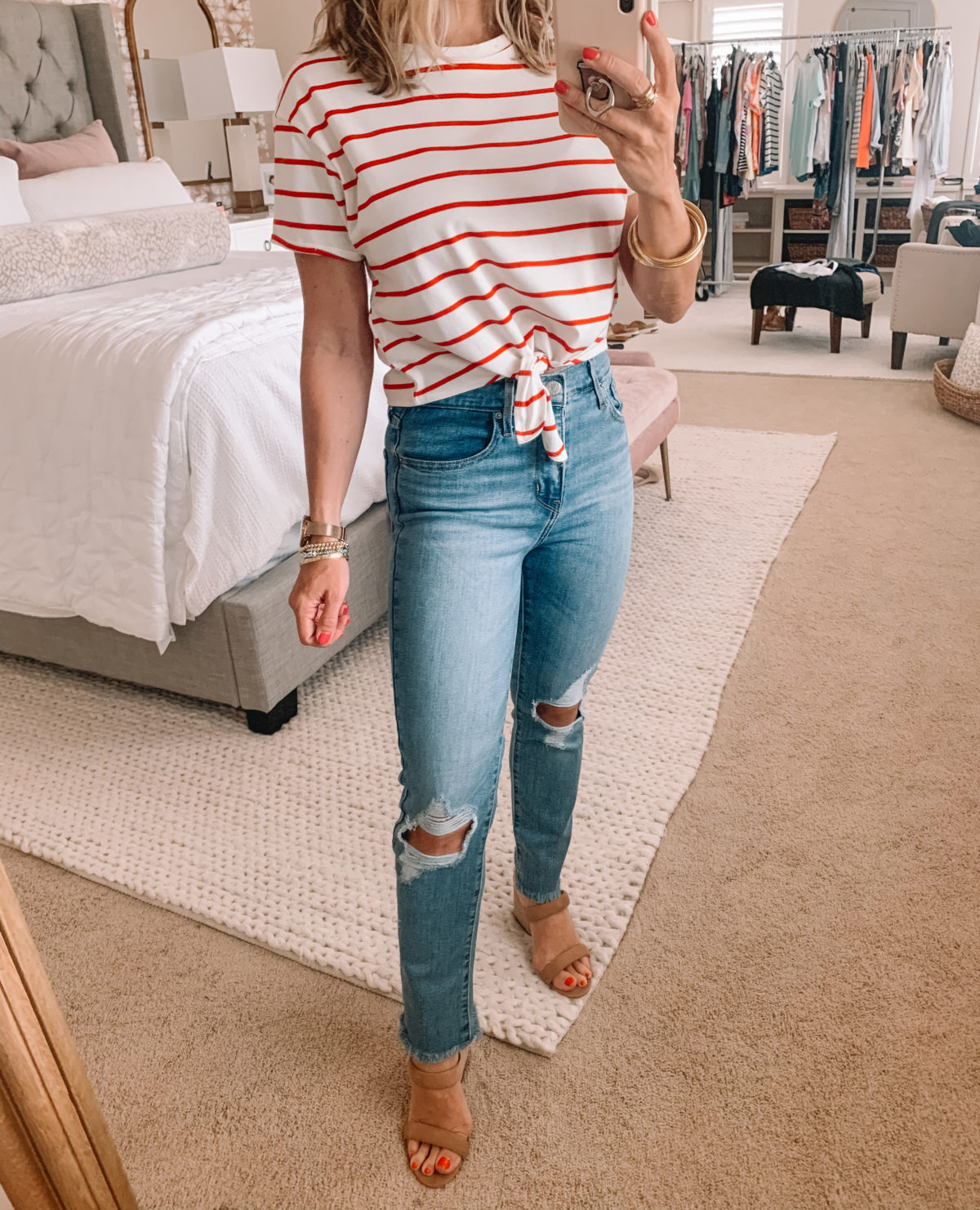 Amazon Fashion Finds, Striped Tie Front Top, Jeans, Sandals