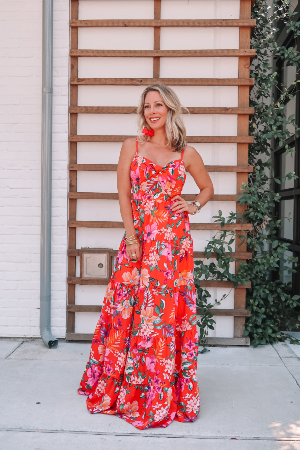 Outfit Roundup, Nordstrom Red Floral Maxi Dress