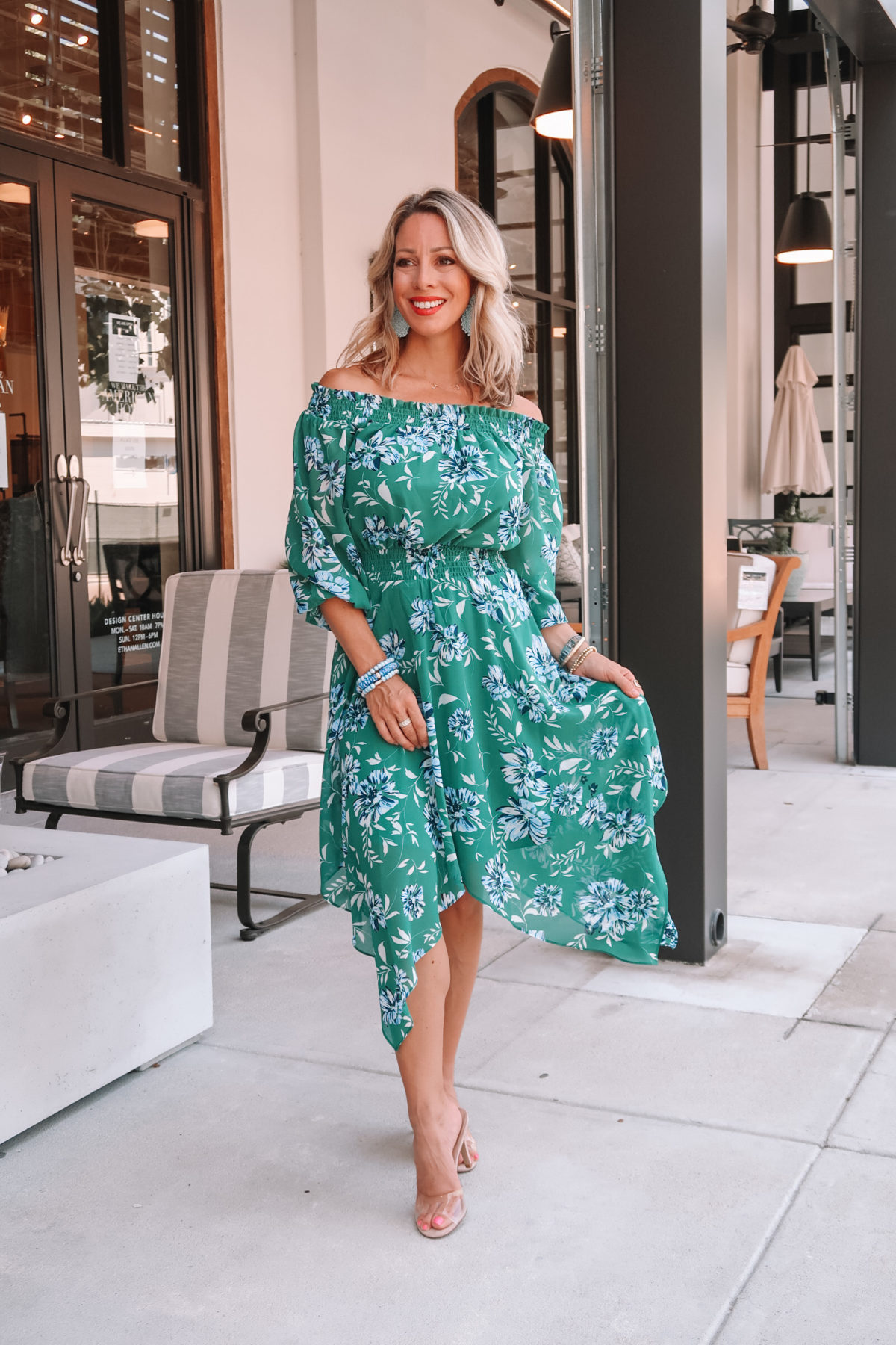 Outfit Roundup, Green Floral Midi Hankerchief Hem Dress, Clear Heels