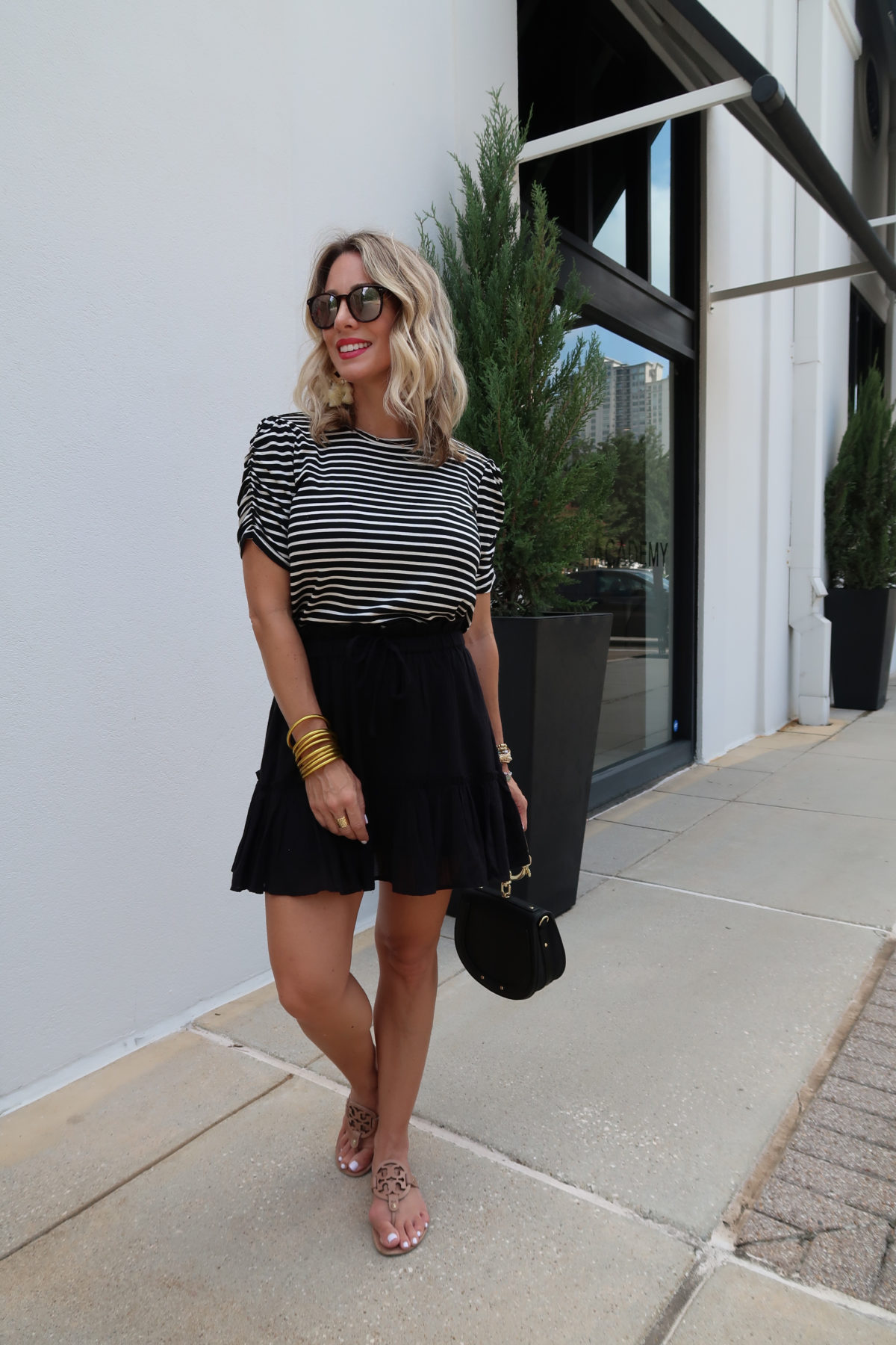 Outfit Roundup, Gibson Striped Puff Sleeve Tee, Black Tiered Mini Skirt, Miller Sandals, Ring Bag