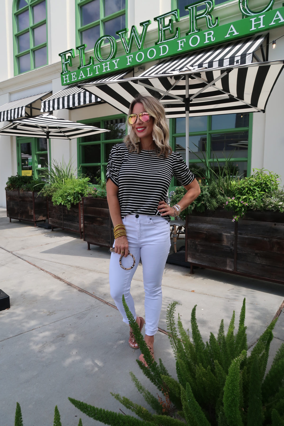 New Summer Styles, Gibson and Nordstrom, Stripe Top, White Jeans, Miller Sandals, Key Ring