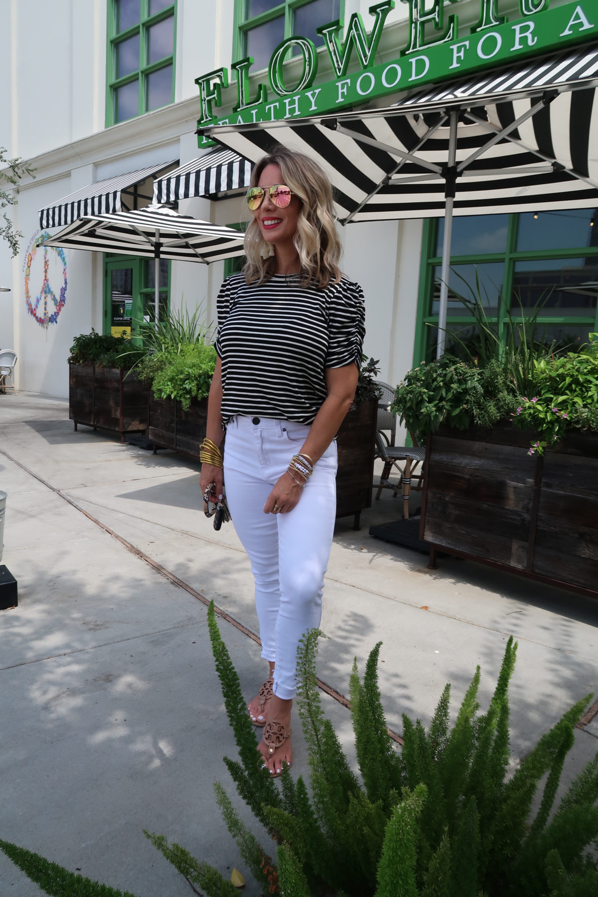 New Summer Styles, Gibson and Nordstrom, Stripe Top, White Jeans, Miller Sandals, Ring Bag