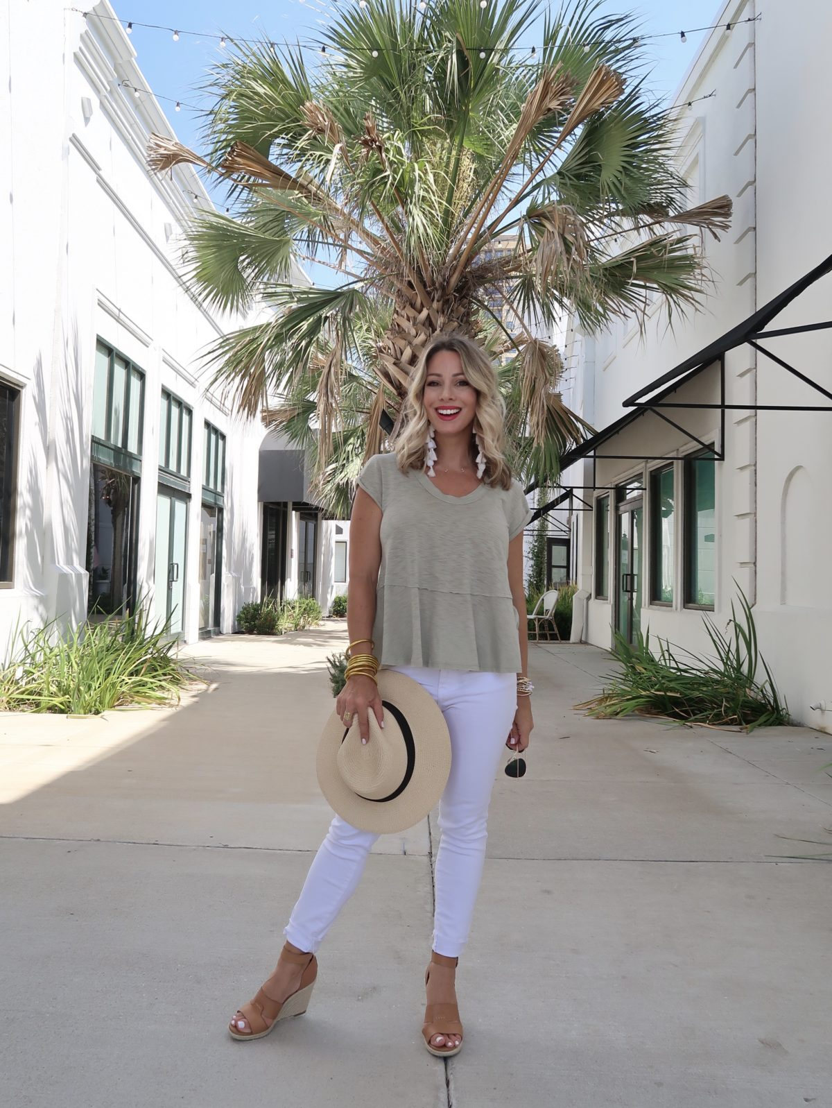 Outfit Roundup, Red Dress Tee, White Jeans, Wedges, Hat, Sunglasses