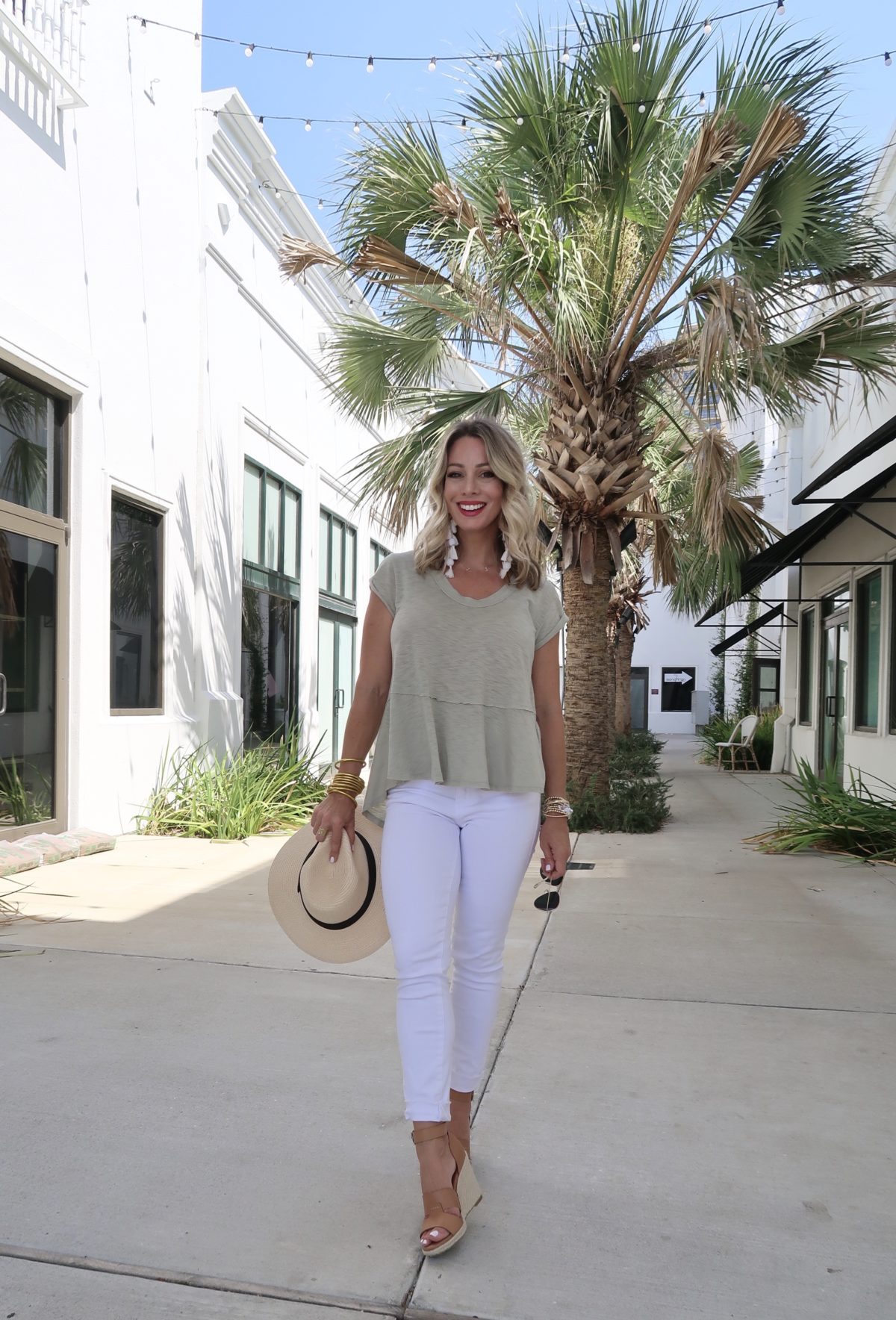 Flirty Summer Styles & Date Night Dresses, Tee, White Jeans, Wedges, Hat