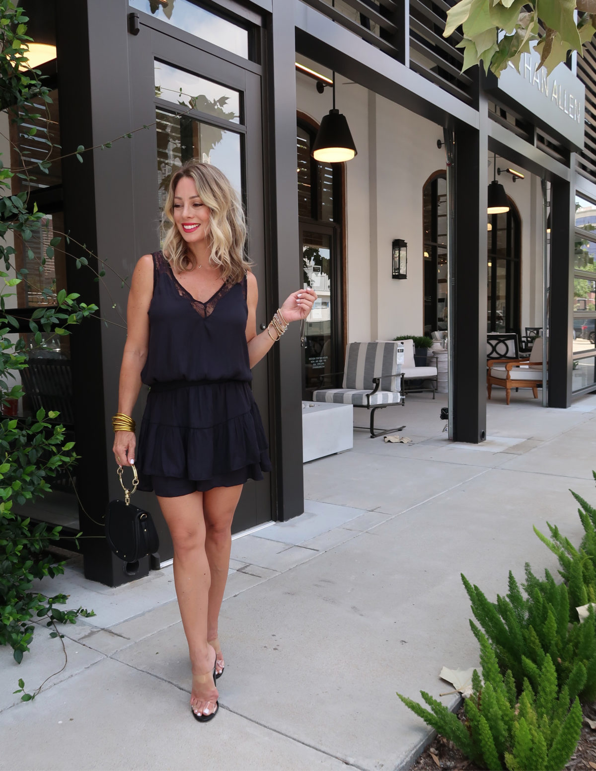Flirty Summer Styles & Date Night Dresses,Black Romper, Ring Bag