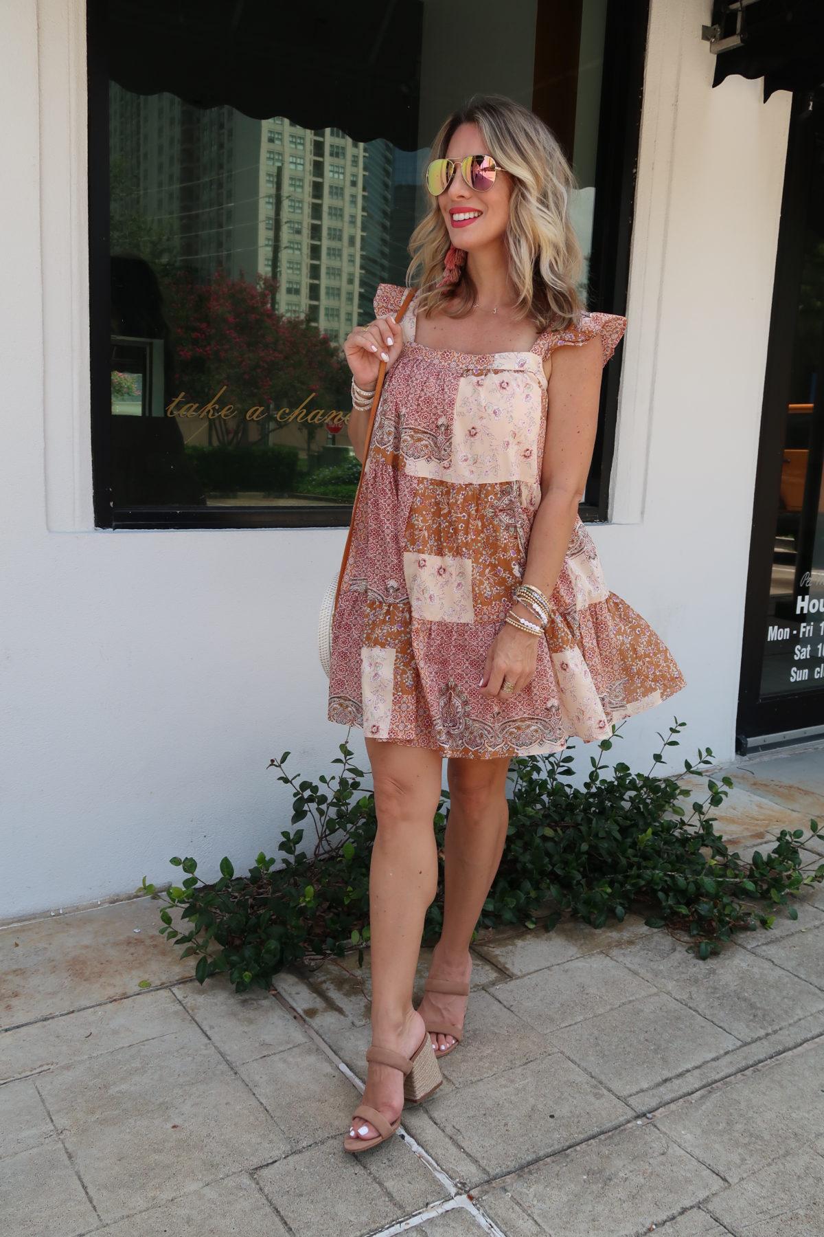 Flirty Summer Styles & Date Night Dresses,Boho Sytle Shift Dress, Sandals
