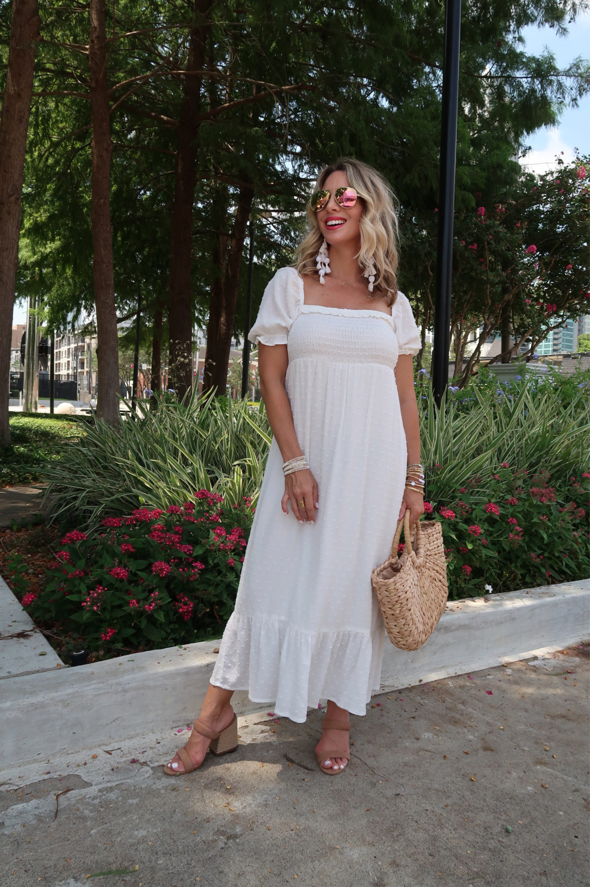 New Summer Styles, Gibson and Nordstrom, White Clip Dot Dress, Sandals, Woven Bag