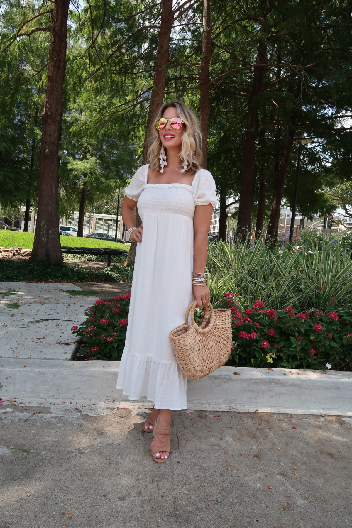 Outfit Roundup, Gibson Clip Dot Maxi Dress, Woven Bag, Sandals