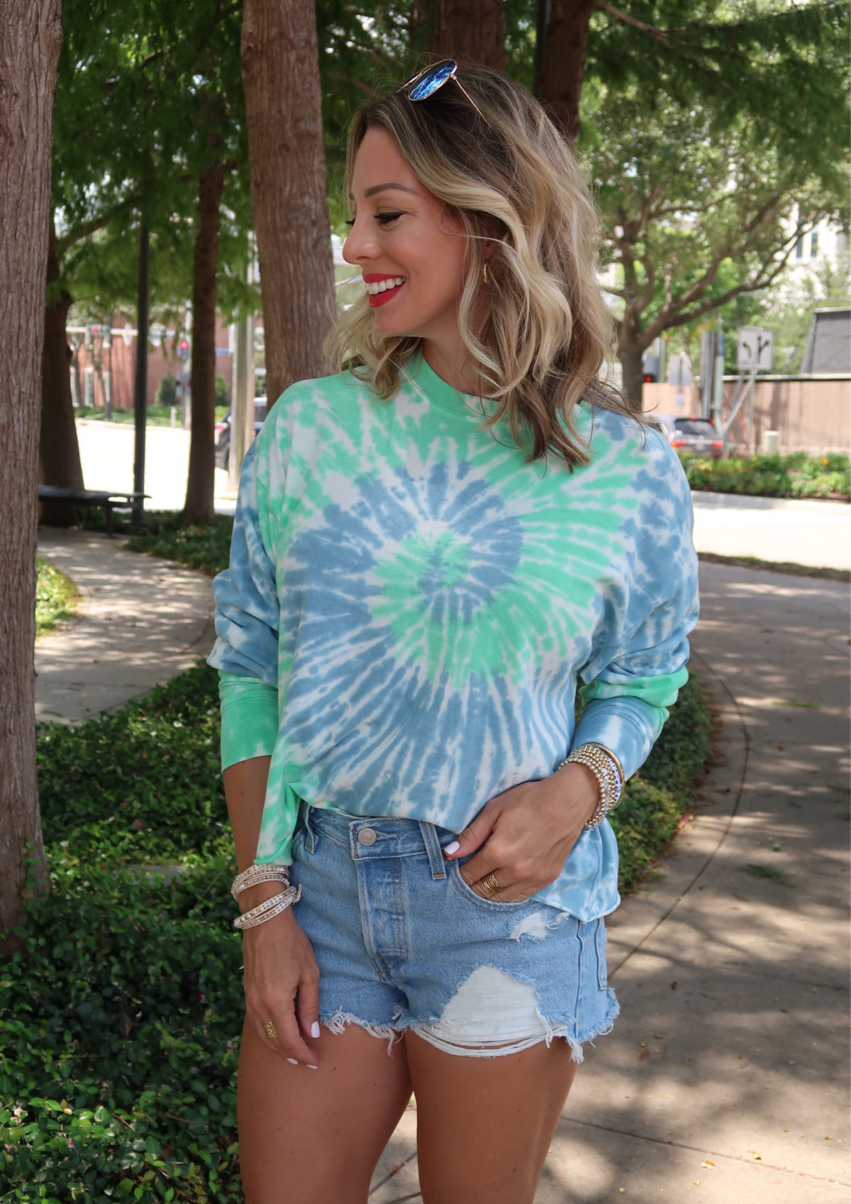 Flirty Summer Styles & Date Night Dresses, Tie Dye Tee, Cutoff Shorts, Studded Slides