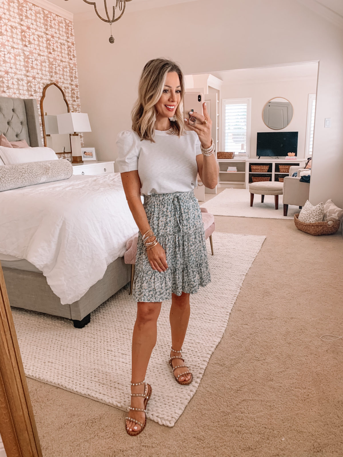 Amazon Fashion Finds, White Puff Sleeve Top, Floral Skirt, Studded Sandals