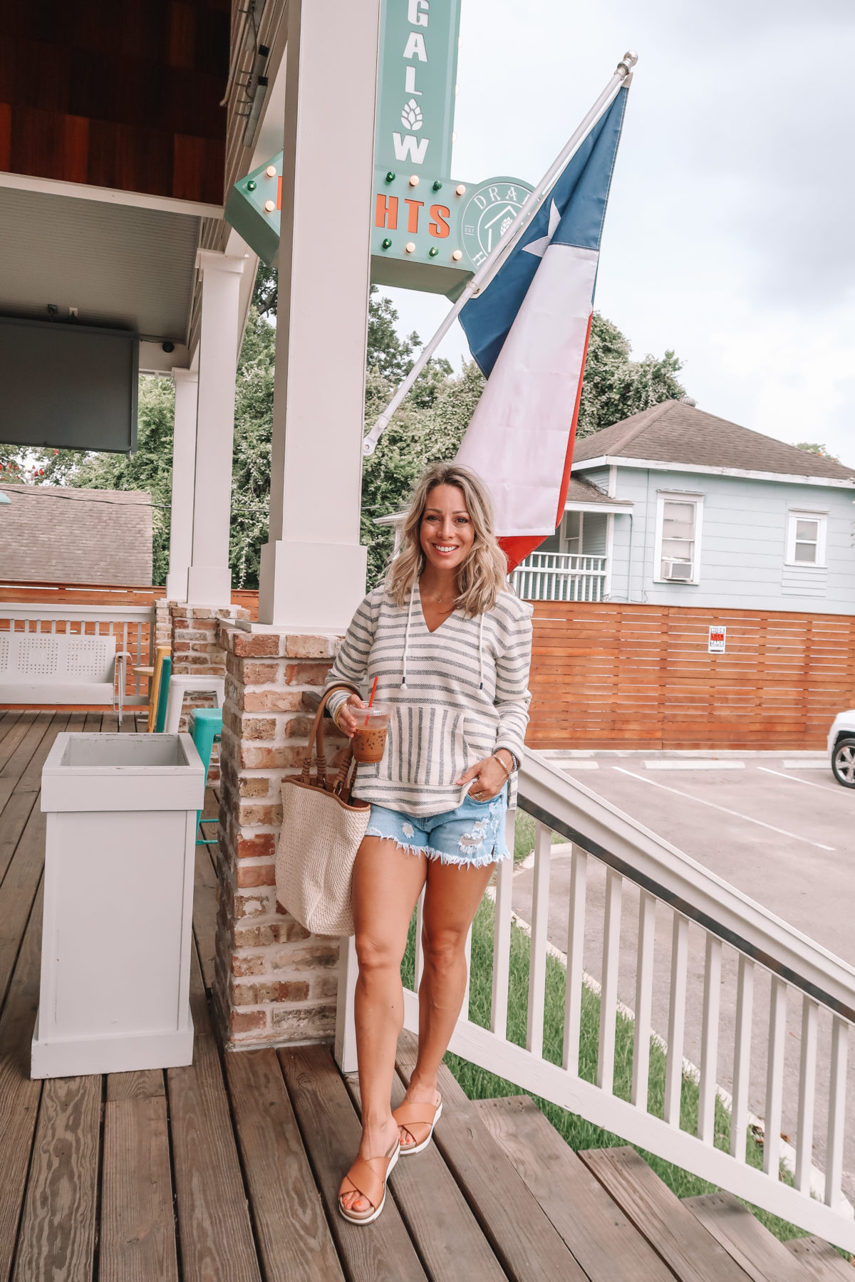 Striped Pullover, Jeans Shorts, Criss Cross Slides, Woven Tote
