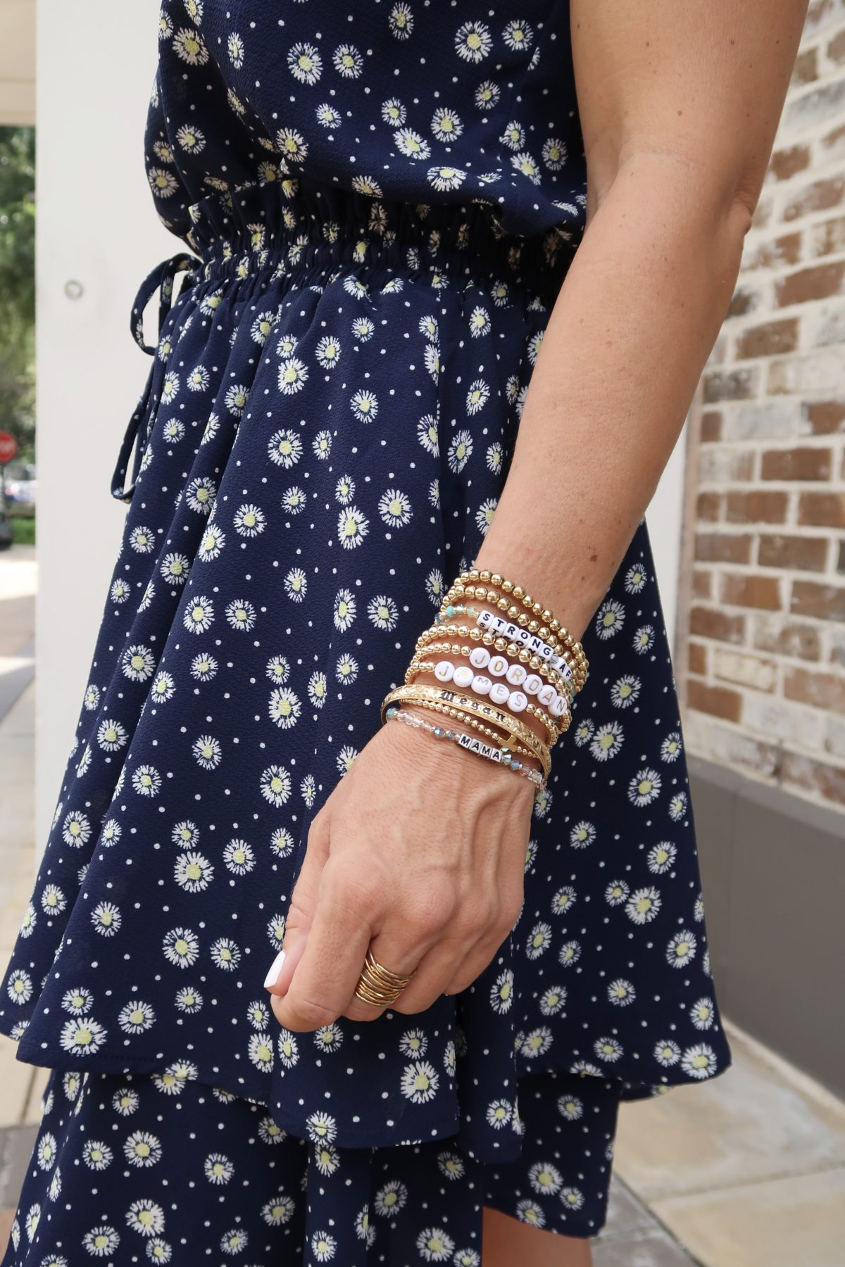 New Summer Styles, Nordstrom and Gibson, Daisy Print Top, Daisy Print Skirt , Beaded Bracelets