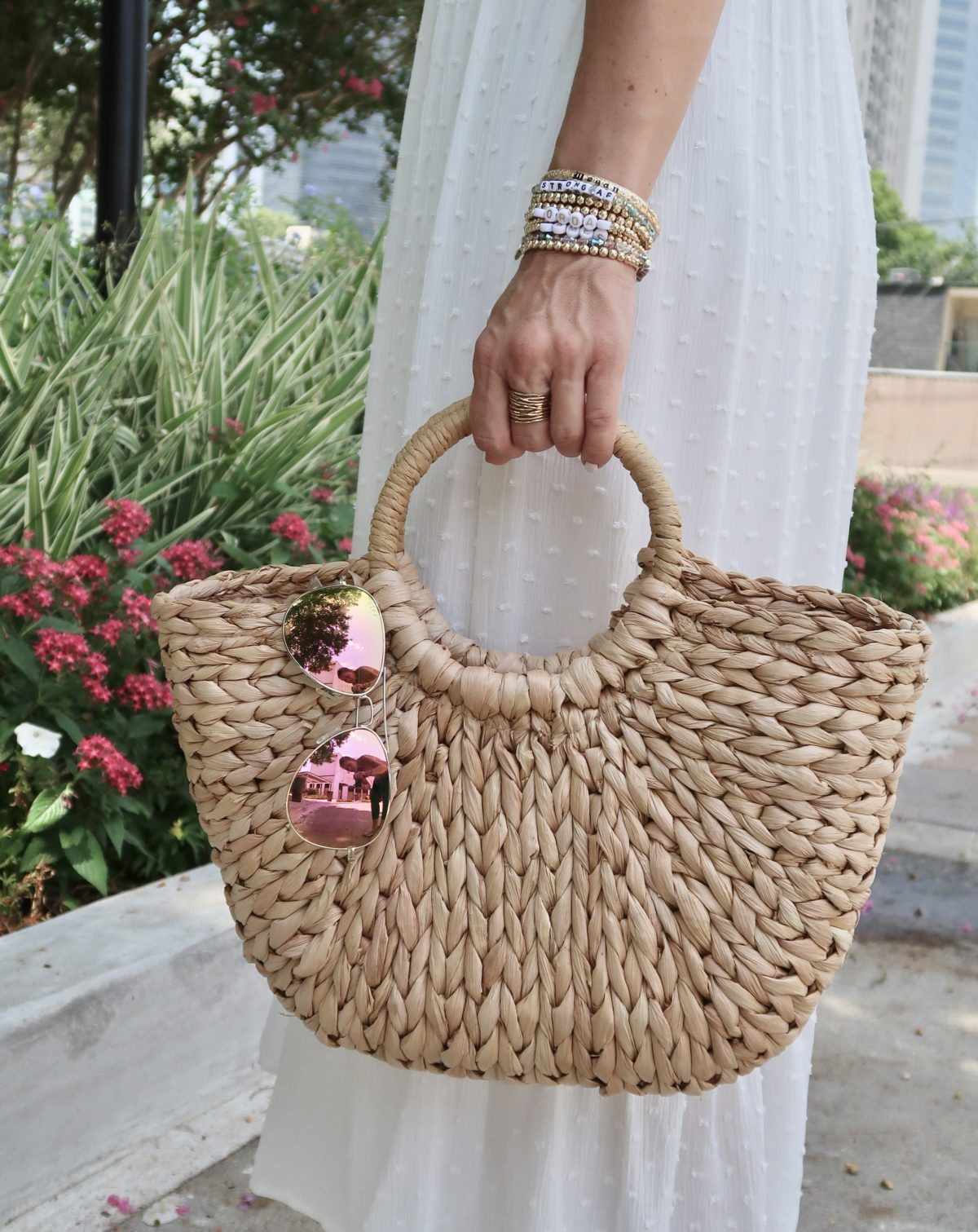New Summer Styles, Beaded Bracelets, Woven Bag, Pink Sunglasses