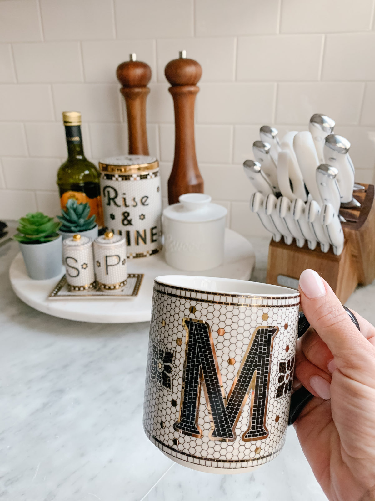 Bistro Tile Initial Mug