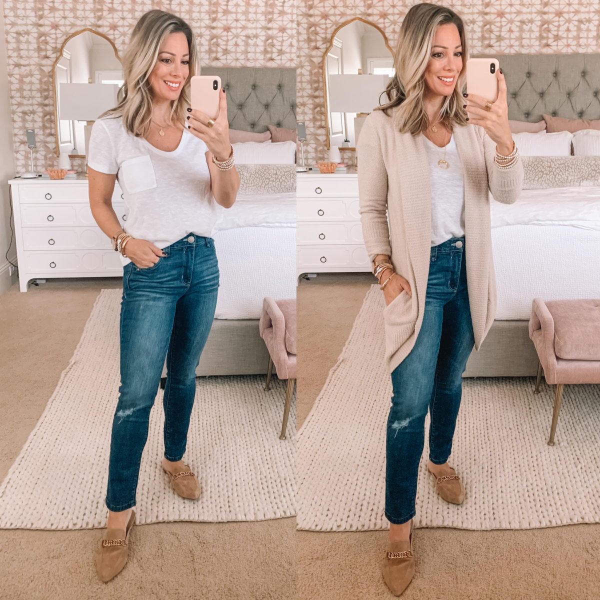 Nordstrom Fashion Finds, Pocket Tee, Cardigan, Jeans, Chain Mules