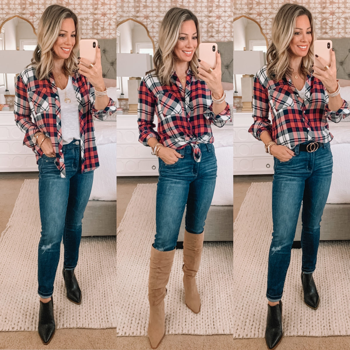 Nordstrom Fashion Finds, Rails Plaid button down, Jeans, Booties, Knee High Boots, Circle Belt
