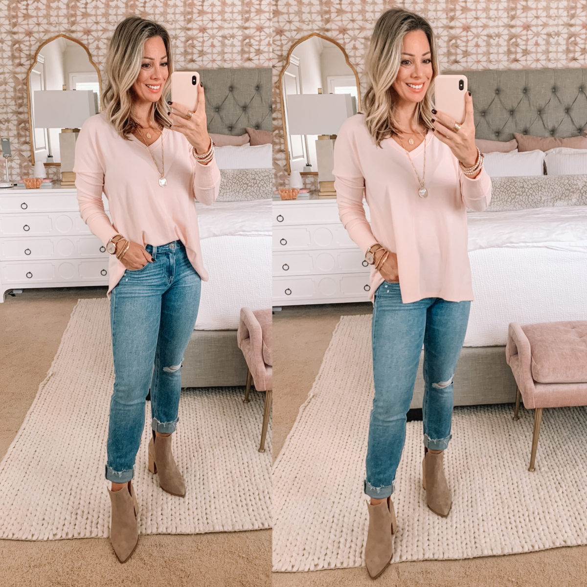 Nordstrom Sale Finds, Pink V-Neck Tunic, Jeans, Booties