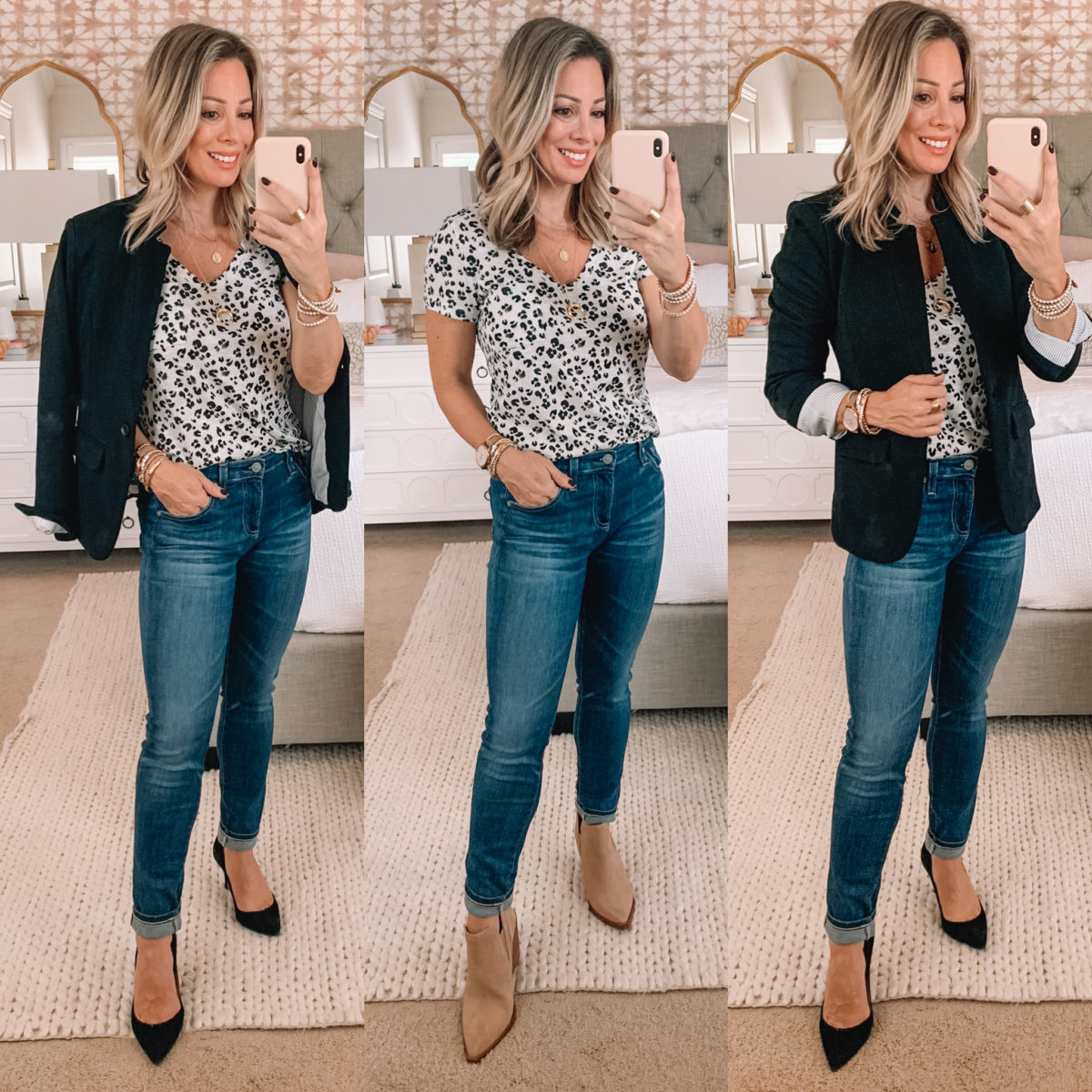 Nordstrom Fashion Finds, Leopard Tee, Blazer, Jeans, Heels, Booties,
