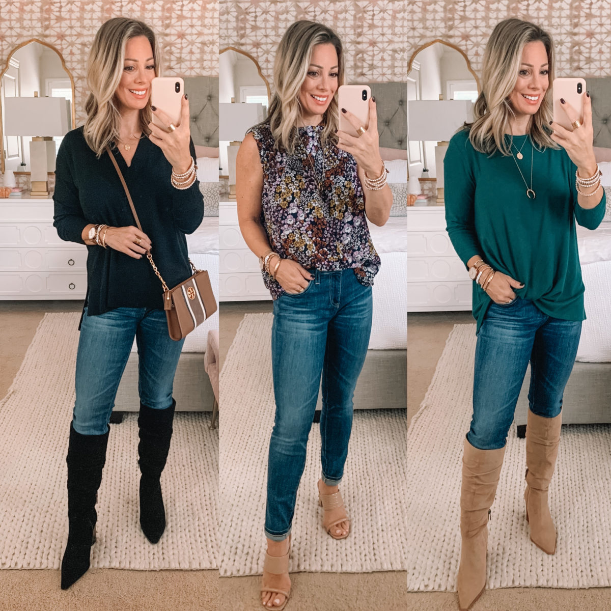 Nordstrom Sale Finds, Black Sweater, Skinny Jeans, Knee High Boots, Floral Top, Sandals, Gibson Twist Tunic