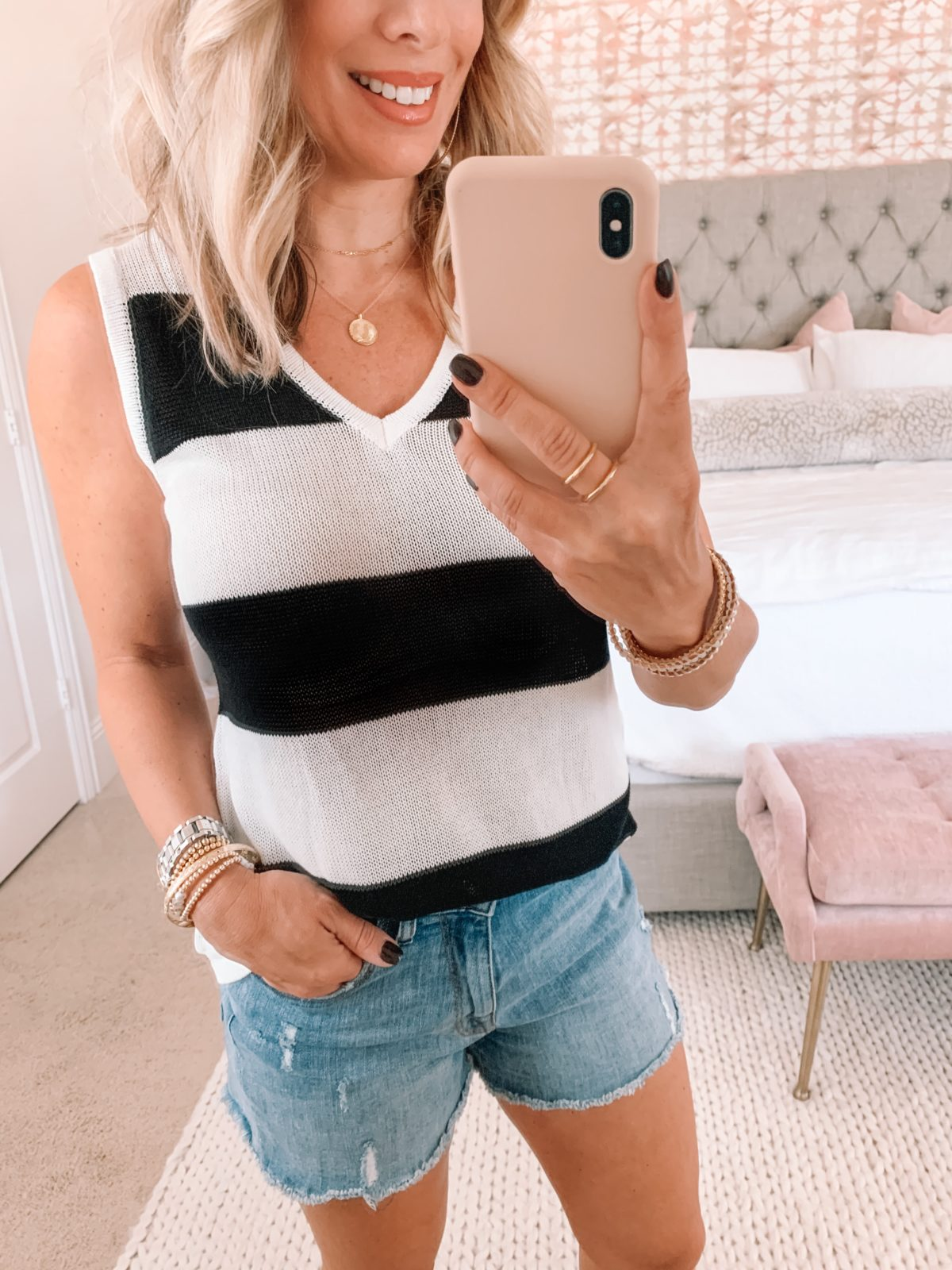 Amazon Fashion Faves, Striped Sweater Tank, Denim Shorts, Booties