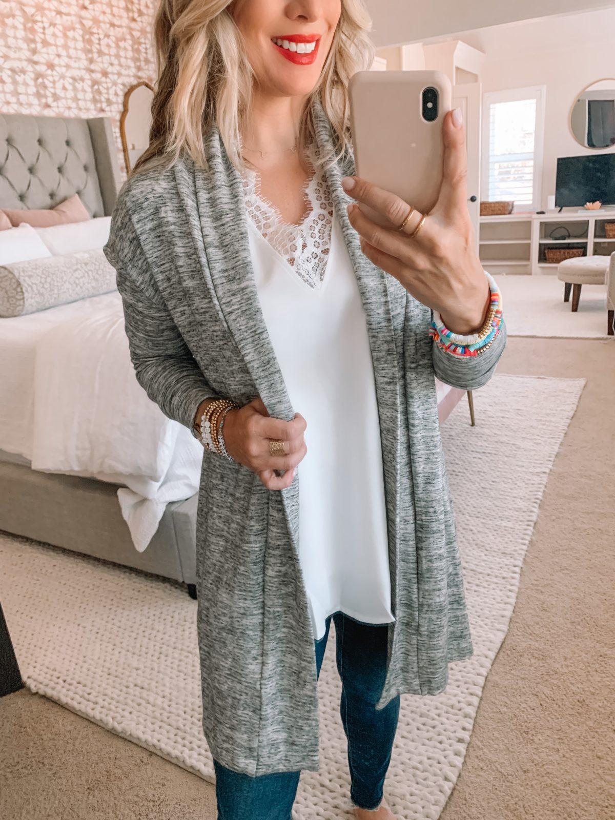 Amazon Fashion Finds, Cardigan, Lace VNeck Cami, Denim Jeans