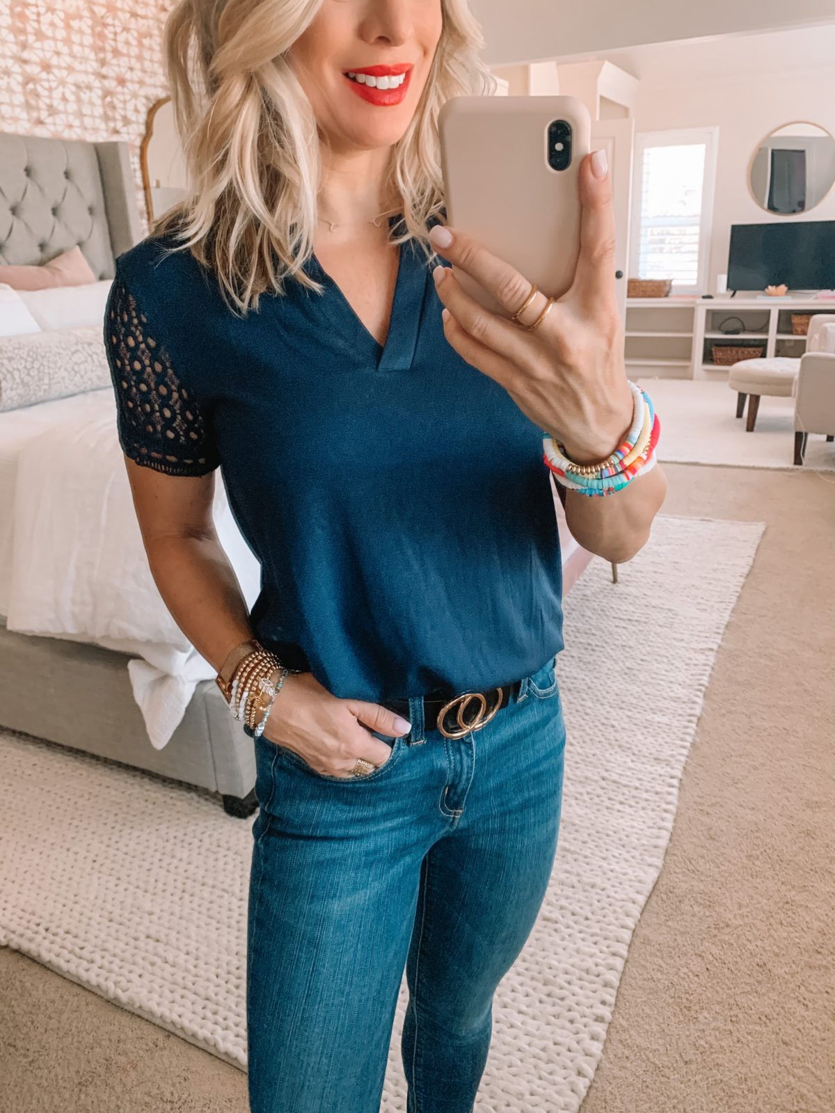 Amazon Fashion Finds, Lace Sleeved Tee, Jeans, Leopard Flats, Circle Belt