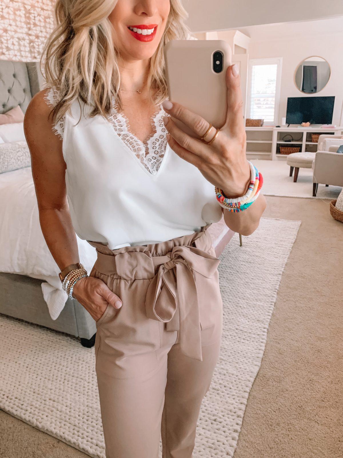 Amazon Fashion Finds, Lace Trim Cami, Paperbag Waist Pants, Nude Heels