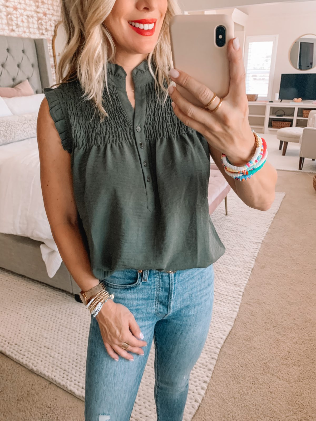 Amazon Fashion Finds, Smocked Sleeveless Top, Skinny Jeans