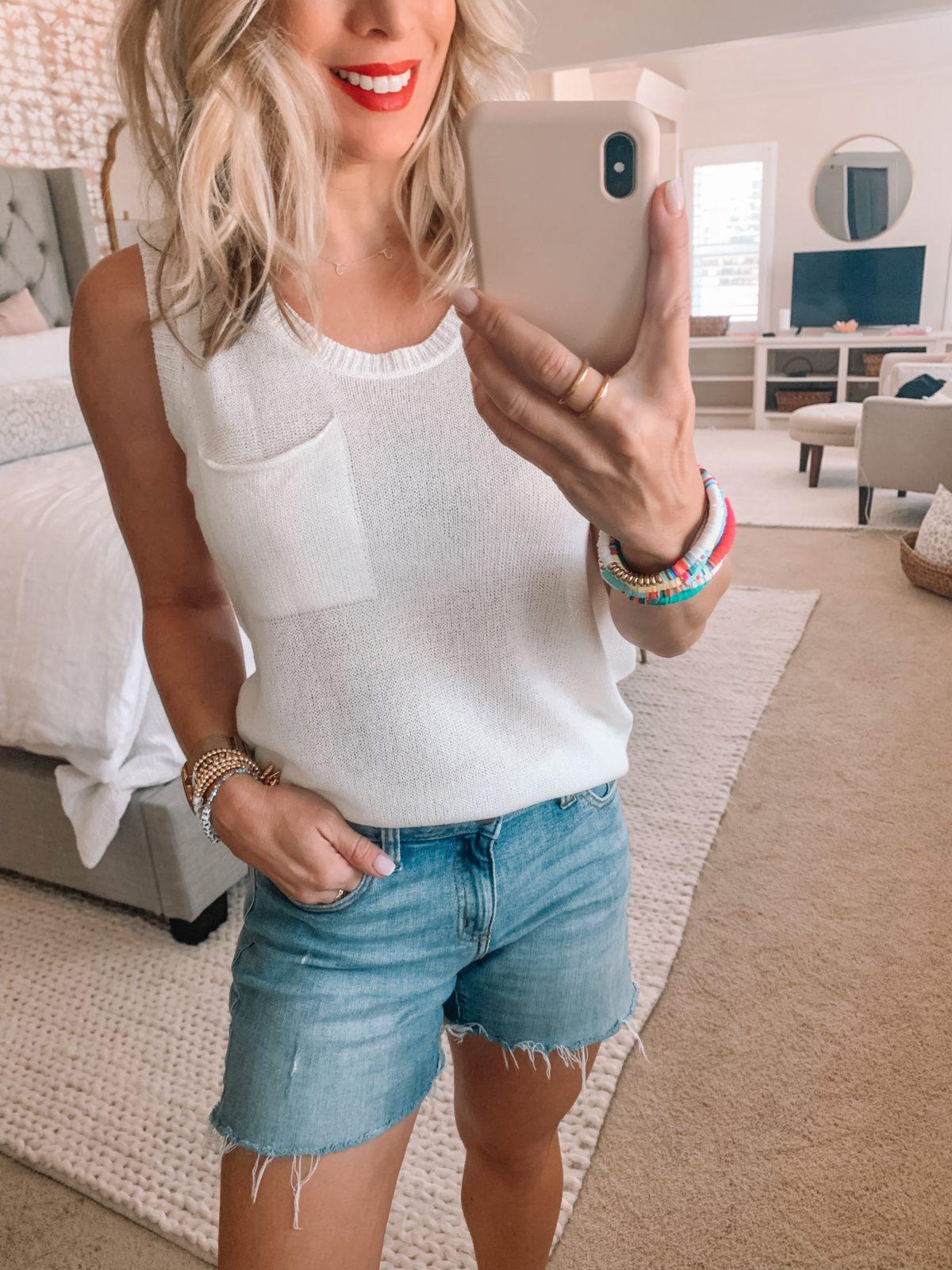 Amazon Fashion Finds, Sweater Pocket Tank, Denim Shorts, Rainbow Bracelets