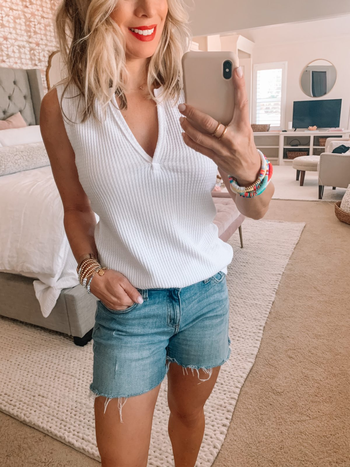 Amazon Fashion Finds, Waffle Knit Top, Denim Shorts, Studded Sandals