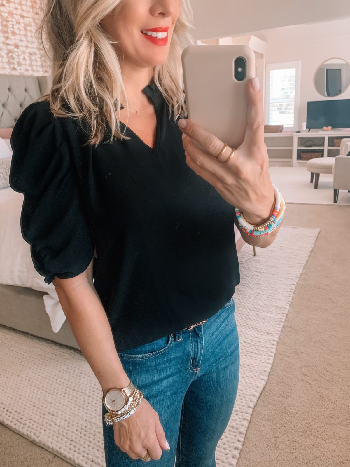 Amazon Fashion Finds, Ruffle Neck Top, Skinny Jeans, Black Heels